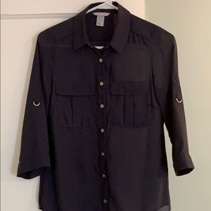 H&M navy blue sheer polyester button down blouse.
